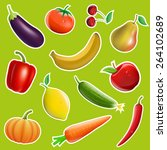 fruits and vegetables in the... | Shutterstock .eps vector #264102689