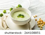 fresh broccoli soup with... | Shutterstock . vector #264108851