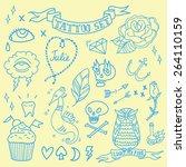 vector old school tattoo set in ... | Shutterstock .eps vector #264110159