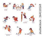 vector set of 10 sports  such... | Shutterstock .eps vector #264110165