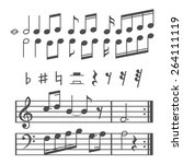 music notes and icons set. ... | Shutterstock . vector #264111119