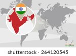 world map with magnified india. ... | Shutterstock .eps vector #264120545