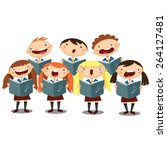 choir girls and boys singing a... | Shutterstock .eps vector #264127481