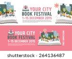 book festival poster concept ... | Shutterstock .eps vector #264136487