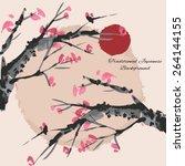 sakura cherry blossom... | Shutterstock .eps vector #264144155