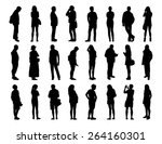 big set of black silhouettes of ... | Shutterstock . vector #264160301