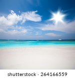 white sand beach  tropical sea | Shutterstock . vector #264166559