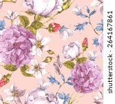 gentle floral seamless vintage...   Shutterstock .eps vector #264167861