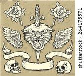 set of old school tattoo... | Shutterstock .eps vector #264175571