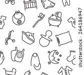 vector seamless baby goods... | Shutterstock .eps vector #264186947