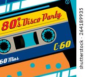 super funky retro eighties... | Shutterstock .eps vector #264189935