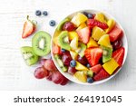 bowl of healthy fresh fruit... | Shutterstock . vector #264191045