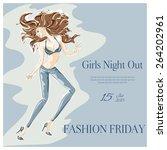 dancing fashion girl in... | Shutterstock .eps vector #264202961