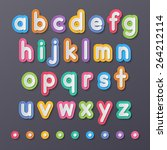 colorful paper small alphabet... | Shutterstock .eps vector #264212114