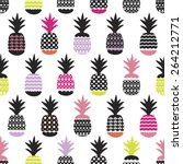 Seamless Pineapple Retro Summe...