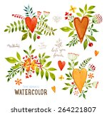 floral set with watercolor...