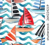 hand drawn watercolor sail boat ... | Shutterstock .eps vector #264224219