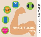 muscle building tips. vector... | Shutterstock .eps vector #264236759