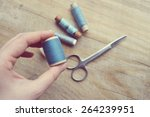 thread for sewing  supplies and ... | Shutterstock . vector #264239951