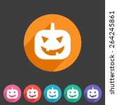 halloween pumpkin symbol flat... | Shutterstock . vector #264245861