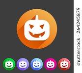 halloween pumpkin symbol flat... | Shutterstock . vector #264245879