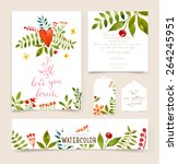 floral set with watercolor... | Shutterstock .eps vector #264245951