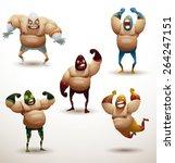 mexican wrestlers set  vector  | Shutterstock .eps vector #264247151