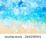 blue sea with sparkle brush... | Shutterstock .eps vector #264258341