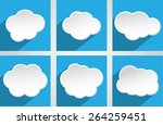 clouds with long shadow.vector... | Shutterstock .eps vector #264259451