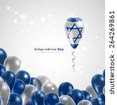 flag of israel on balloon.... | Shutterstock .eps vector #264269861
