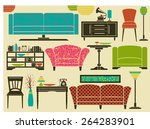 set of retro furniture  home... | Shutterstock .eps vector #264283901
