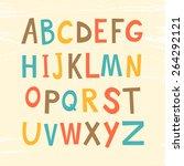 colorful retro alphabet in... | Shutterstock .eps vector #264292121