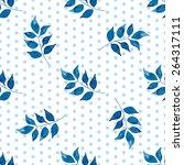 seamless floral pattern. blue... | Shutterstock .eps vector #264317111