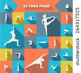 set of twenty three yoga poses... | Shutterstock . vector #264317525