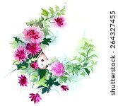 birdhouse in a flower wreath | Shutterstock . vector #264327455