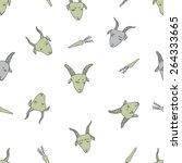 hand drawn goats seamless... | Shutterstock .eps vector #264333665