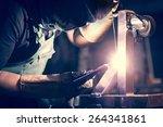 worker welding aluminum using... | Shutterstock . vector #264341861