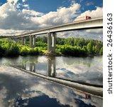 Small photo of bridge over Saima channel, Baltic sea, highway Scandinavia