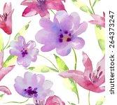 watercolor flowers seamless... | Shutterstock .eps vector #264373247