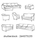 furniture set. interior detail... | Shutterstock .eps vector #264375155