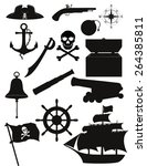 Set Of Pirate Icons Black...