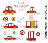 doodled transportation icons...   Shutterstock .eps vector #264397337