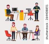 meeting people  | Shutterstock .eps vector #264408851
