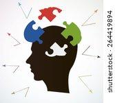 Stock vector puzzle broken brain or broken knowledge creative illustration art 264419894