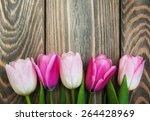 border with pink tulips on a... | Shutterstock . vector #264428969