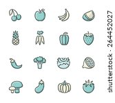 hand drawn blue and beige fruit ... | Shutterstock .eps vector #264452027