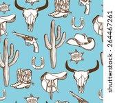 hand drawn wild west western... | Shutterstock .eps vector #264467261