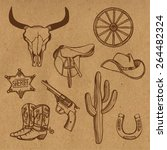 hand drawn wild west western... | Shutterstock .eps vector #264482324