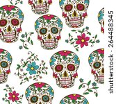 hand drawn day of the dead... | Shutterstock .eps vector #264488345