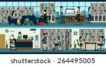the library is open to public... | Shutterstock .eps vector #264495005